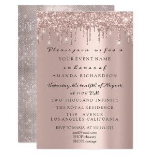 Sparkly Glitter Rose Gold Elegant Bridal Birthday Invitations