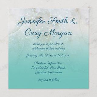 Sparkly Marble Teal Ombre Wedding Invitations