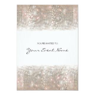 Sparkly Silver Faux Sequins Festive Party Invitations