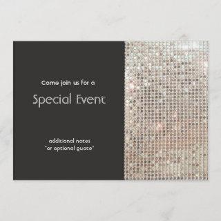 Sparkly Silver Sequins Festive Fun Party Invitations