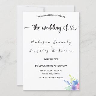 Spectacularly Simple Elegant Luxurious Floral  Invitations