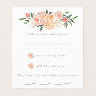 Spring Blush Peach Sage Watercolor Floral RSVP Business Card
