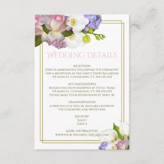 Spring Bouquet Flowers Gold and Pink Wedding Enclosure Card