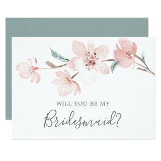 Spring Cherry Blossom Bridesmaid Proposal Card