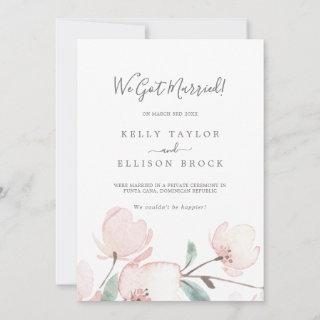 Spring Cherry Blossom Elopement Announcement