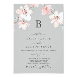 Spring Cherry Blossom | Gray Monogram Wedding Invitation