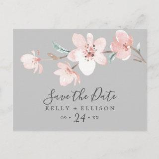 Spring Cherry Blossom Gray Save the Date Postcard