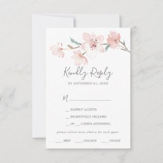 Spring Cherry Blossom Menu Choice RSVP Card