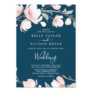 Spring Cherry Blossom | Navy Wedding Invitations