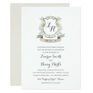 Spring Floral Crest Wedding Invitation