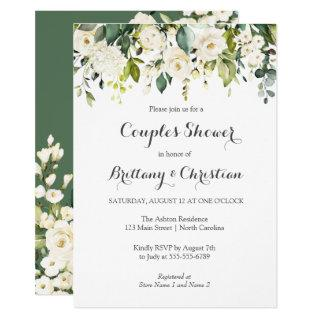 Spring Floral Greenery Couples Shower Brunch Invitations