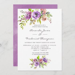Spring Floral Watercolor Rehearsal Dinner Invitation