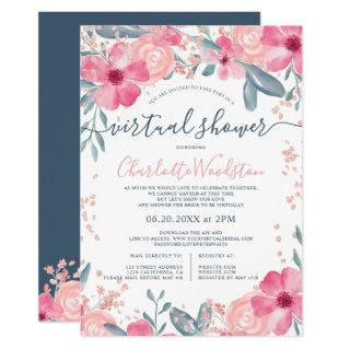 Spring floral watercolor script virtual shower invitation