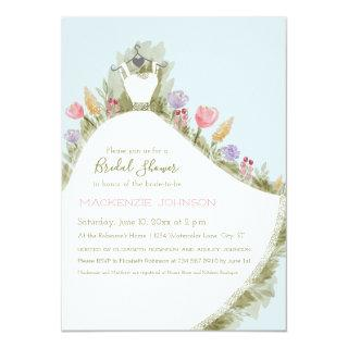 Spring Flowers Watercolor Dress Bridal Shower Invitations