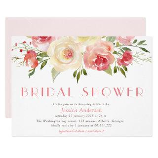 spring peach floral bridal shower invitation