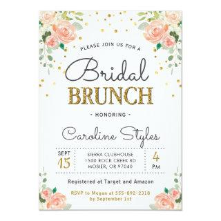 Spring Peony Gold Glitter Elegant Bridal Brunch Invitation