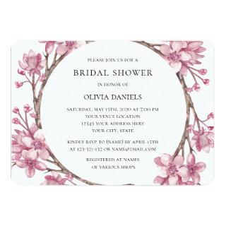 Spring pink cherry blossom. Floral Bridal Shower Invitations