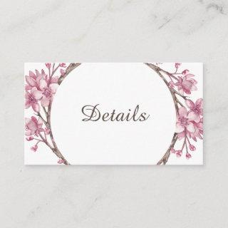 Spring pink cherry blossom. Wedding details Enclosure Card