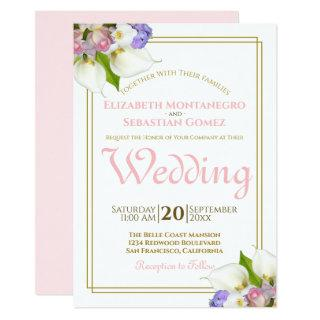Spring Roses & Calla Lilies Gold and Pink Wedding Invitation