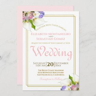 Spring Roses & Calla Lilies Gold and Pink Wedding