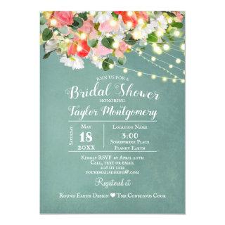 Spring Tulips & Roses | Teal  Bridal Shower Invitations
