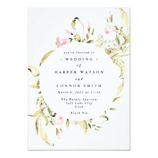 Spring Wildflowers Watercolor Wedding Invitation
