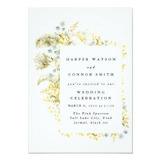 Spring Yellow Wildflowers Watercolor Wedding Invitation