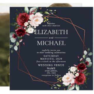 Square Copper Geometric Burgundy Blue Photo Invitation