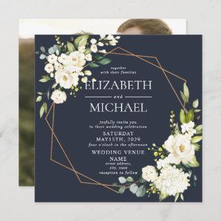 Square Copper Geometric Navy Blue Floral Photo Invitations