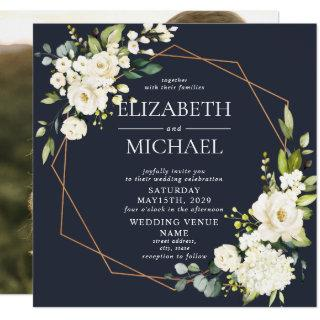 Square Copper Marble Geometric Blue Floral Photo Invitation