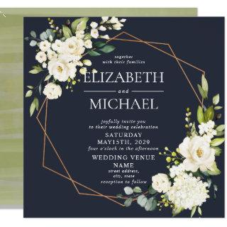 Square Copper Marble Geometric Blue White Floral Invitation