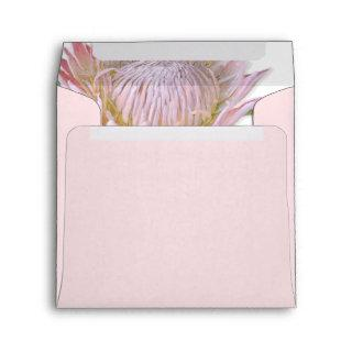 Square Modern Floral Pink Protea Flower Address Envelope