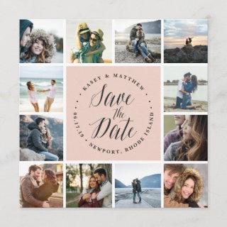 Square Photo Collage Save the Date Card | Blush