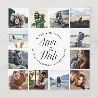 Square Photo Collage Save the Date Card | White