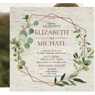 Square Rustic Copper Geometric Eucalyptus Photo Invitations