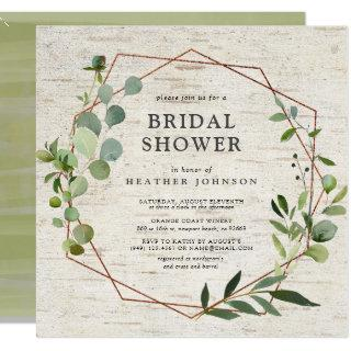 Square Rustic Copper Geometric Eucalyptus Shower Invitations