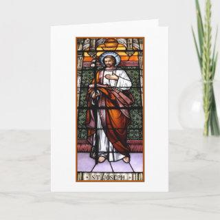 St. Joseph pray for us - stained glass window Holiday Card