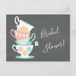 Stacked Tea Cups on a Chalkboard Background Invitation Postcard