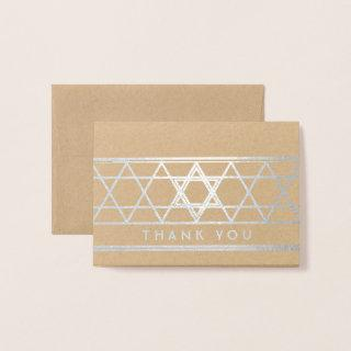 Star of David Thank You Chic Kraft & Silver Real Foil Card