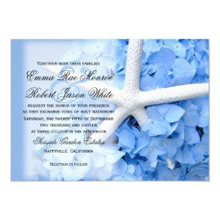Starfish and Hydrangea Tropical Blue Wedding Invitations