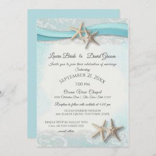 Starfish and Lace Beach Ocean Blue Wedding Invitations