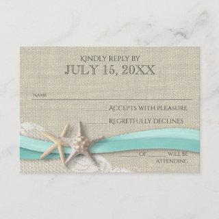 Starfish and Lace Rustic Response Card
