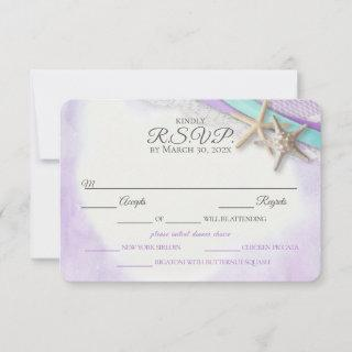 Starfish and Lace Vintage Beach Purple RSVP Card