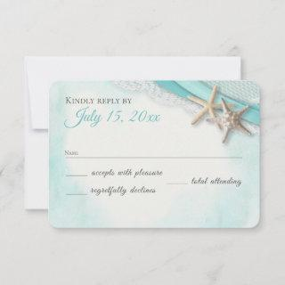 Starfish and Lace Vintage Beach Turquoise RSVP Card