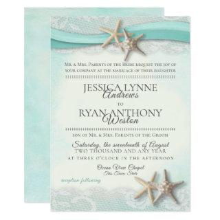 Starfish and Lace Vintage Beach Wedding Invitation