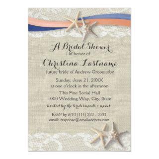 Starfish and Ribbon Blue Coral Bridal Shower Invitation