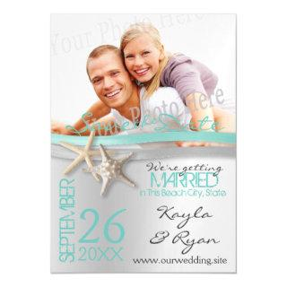 Starfish and Ribbon Save the Date Magnetic Invitations