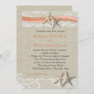 Starfish and Ribbon Vintage Beach Coral Wedding Invitation