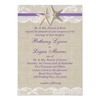 Starfish and White Lace Purple Invitation