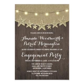 Starfish Burlap Beach Engagement Party Invitations